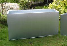 "Begonia Silver Tone Galvanized Steel Planter  - 32"" Rectangular"