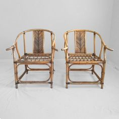 2 HOLLYWOOD REGENCY asian style rattan chairs for restoration