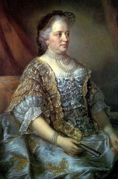 Maria Theresa, Empress Consort of the Holy Roman Empire, Queen Consort of Germany; by Jean-Étienne Liotard, c. 1762. Her father was Charles VI, Holy Roman Emperor. She was married to Francis I, Holy Roman Emperor.
