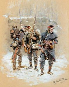 French Line Infantry, 1870 by d'Alphonse de Neuville  2 Mobiles with their officer.