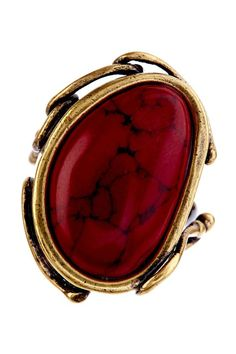 Red Calcite & Gold ring