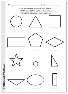 The shapes - Free printable activity to write and learn their names #shapes #names #coloring #math #mathematics #education #worksheet #vocabulary