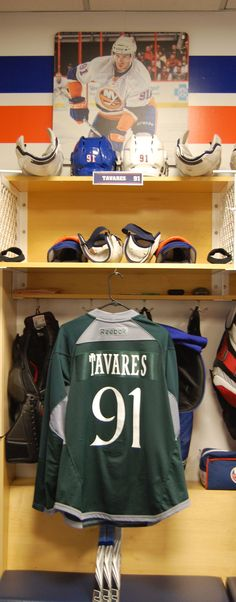 John Tavares' locker room stall with the St. Patrick's Day inspired jersey.