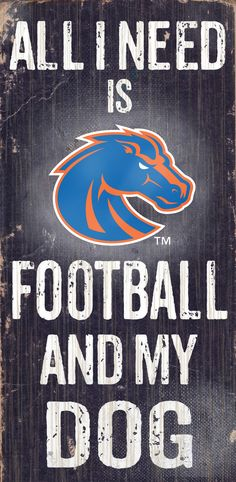 Boise State Broncos Wood Sign - Football and Dog 6x12 (backorder)