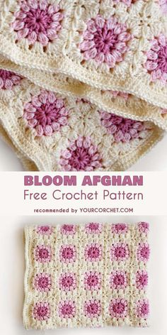 Bloom Afghan Free Crochet Pattern #freecrochetpatterns #crochetblanket #babyblanket #crochetafghans #grannysquare #babyshowerideas #clusterstitch
