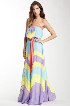 Champagne & Strawberry Multicolor Maxi Dress