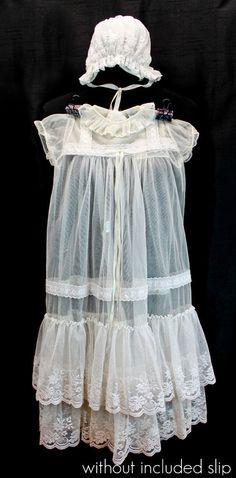 ANTIQUE LACE CHRISTENING GOWN 3 Piece Set Vtg Baby Church Dress Bonnet & Slip