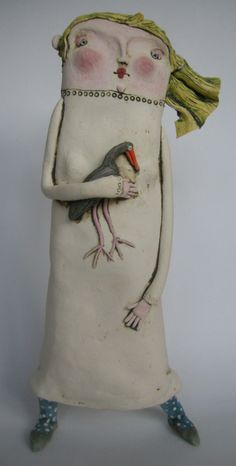 Ceramic Sculpture Figurative, Sculpture Clay, Ceramic Figures, Clay Figures, Ceramic Painting, Ceramic Art, Painted Ceramics, Pottery Angels, Wilson Art
