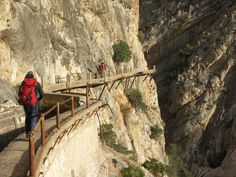 one of the world's more dangerous hiking routes ... El Caminito del Rey (aka Camino del Rey), El Chorro gorge, near Álora, province of Málaga, Spain. || they are supposed to rebuild the entire walkway so it will look something like this: http://www.caminodelrey.es/camino-del-rey-reconstruction/
