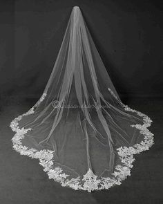 This Dramatic Scallop Lace Royal Cathedral Length Wedding Veil by JL Johnson Bridals will ensure a dramatic walk down the aisle. Spanish Wedding Veils, Wedding Veils With Hair Down, Simple Wedding Veil, Spanish Veil, Veil Hair Down, Simple Veil, Bridal Lace, Wedding Lace, Wedding Viel