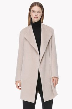 Llama wool blend no collar coat