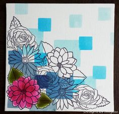 Square canvas using Square Masks and Floral Trio stamp set.