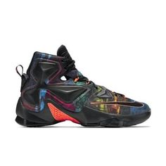 LeBron XIII -   LIGHT. LEAN. EXPLOSIVE. Note: One per customer. The light, strong LeBron XIII Men's Basketball Shoe features sock-like comfort plus larger-than-ever Nike Zoom Air cushioning for maximum explosiveness on the court. Responsive Cushioning Four low-profile Nike Zoom Air units in the forefoot and two 13mm Nike Zoom Air units in the heel deliver incredibly responsive cushioning. Flexible Support A one-piece sleeve made of breathable mesh offers sock-like comfort, zoned supp...