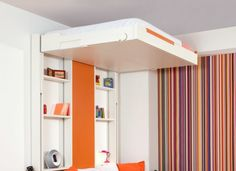 Cool Murphy Beds For Small Bedroom Featuring Wonderful Wall Bed In Turquoise Color And Black Drawers And Elevator Murphy Bed For Space Saving Idea With Wall Shelves Plus Colorful Stripe Curtain School Bus Tiny House, Bus House, Bus Living, Living Area, Space Saving Beds, Van Conversion Interior, Tiny House Design, Built In Storage, House On Wheels