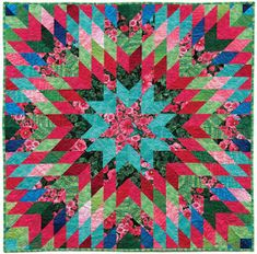 Hollyhock Garden Stars quilt, square, free pattern by Jan Krentz for Timeless Treasures. Posted by Quilt Inspiration: Free pattern day! Star quilts (part Lone Star Quilt Pattern, Star Quilt Blocks, Star Quilt Patterns, Star Quilts, Free Paper Piecing Patterns, Jelly Roll Quilt Patterns, Batik Quilts, Jellyroll Quilts, Scrappy Quilts