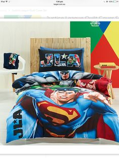 justice league ~awasome four~ super hero double/full size quilt