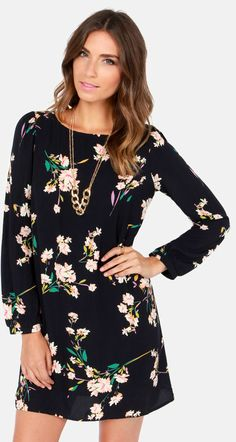 Navy Blue Floral Dress #fashion #style #outfit
