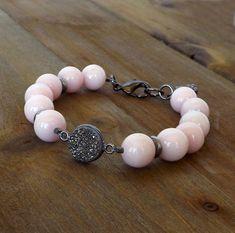 Pink Jade Bracelet Gray Druzy Bracelet Boho Jewelry