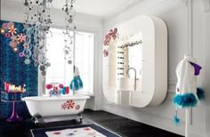 Opulent Teen Girl Room With Wall Mount Vanity Unit Also Bold Decoration Idea And Clawfoot Bathtub Charming Outlook of Teen Girl Rooms with Splash of Bright Bedroom Design Teenage Girl Bathrooms, Teenage Girl Bedroom Designs, Teen Girl Rooms, Girls Bedroom, Tween Girls, Bedroom Sets, Girl Bathroom Decor, Bathroom Kids, Bathroom Interior