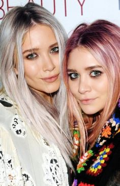 Mary Kate and Ashley Olsen. Silver and rose hair color. I love it.
