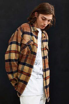 Captain Fin Grant Plaid Shirt Jacket - Urban Outfitters...