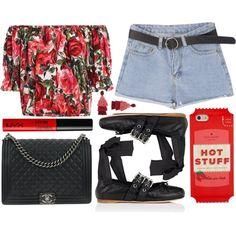 street style by sisaez on Polyvore featuring moda, Dolce&Gabbana, Miu Miu, Chanel, Oscar de la Renta, Kate Spade and NYX