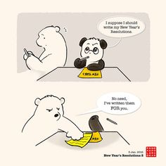 Panda And Polar Bear :: New Year's Resolution 2 | Tapastic Comics - image 1