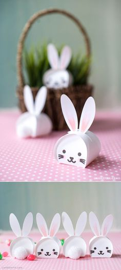 Easter Bunny #treatboxes svg template for your Cricut at www.LiaGriffith.com: #EasterBunny