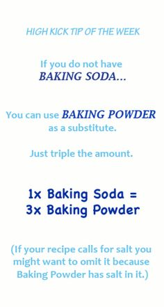 Baking tip for substituting baking soda with baking powder. #baking #tips