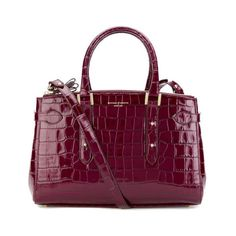 Aspinal of London Women's Brook Street Croc Tote Bag - Bordeaux Croc featuring polyvore, women's fashion, bags, handbags, tote bags, leather tote shopper, leather tote, shopping tote bags, leather purses and zip top tote bag