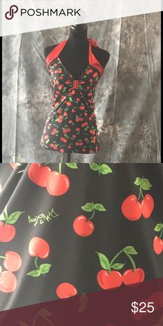 """Sexy pinup Demi Loon cherries 🍒 Halter top NEW Brand new rockabilly halter top with cherries.  Perfect top for vlv and all those upcoming car and music festivals!  Made from a very stretchy scuba type fabric, it will cling to your every curve!  Measurements are bust 38"""" waist 39"""" length from top of halter to bottom seam is 21"""".  Tags #pinup #sexy #vlv #car show #hotrod #rockabilly #psychobilly #lolita #kawaii Demi Loon Tops Tank Tops"""