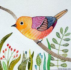 Happy art / Bird Art/Print from original Watercolor painting / Room Decor /