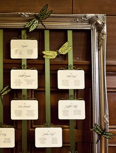 Cute way to arrange Your seating chart using a vintage frame and some ribbon.