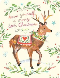 Boxed Holiday Cards - Katie Daisy Reindeer