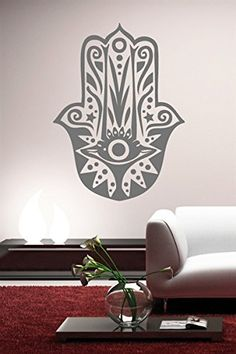 $10.99  - DNVEN Grey Large 20w X 27h Hamsa Hand Eye Indian Fatima Namaste India Eye Abstract Arts Design Wall Decals Stickers Arts Blessings Power Strength Decor Home Vinyl Living Rooms Bedrooms Wall Decals * You can find more details by visiting the image link. (This is an affiliate link) #WallStickersMurals