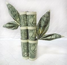 Lucky Bamboo Money Origami  Five Dollars Faux by PaperAffection, $22.00