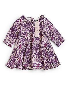 Lili Gaufrette Infant's Wool/Silk Twill Floral Dress