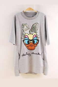 Energetic Donald Duck Printing Loose T-shirt