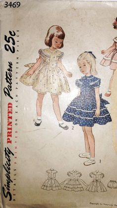 Vintage 1950s Girls Bouffant Party Dress Or Day Dress In Three Variations - Simplicity Pattern No. 3469 - Size 5