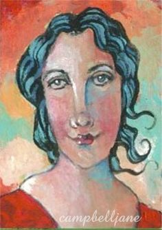 Original ACEO Painting Portrait Woman Girl Lady Red Dress Sunset Miniature ATC