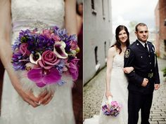 Purple Calalilly White Feather Bouquet Police Officer Wedding I just like the flowers loll