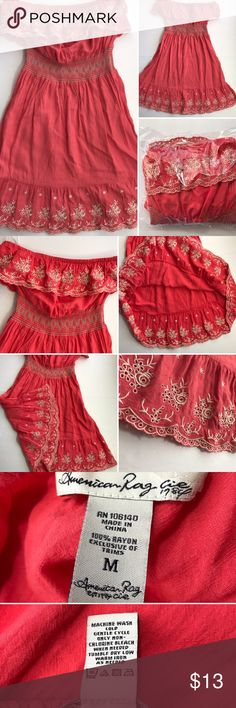 American Rag Cie dress Great dress pink like Damon color, is lighter then some of these photos, closest to first photo color. For some reason came out dark in photos? Please see tags for size, materials and washing instructions.🚭 American Rag Cie  Dresses Strapless