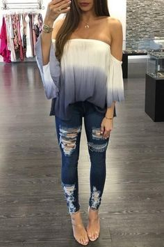 - Womens beautiful off shoulder gradient strapless top - For the trendy woman - Beautiful design offers a cute stylish look - Perfect for parties or social gatherings - Made from high quality material Teenager Outfits That Will Make You Look Great Cute Fashion, Look Fashion, Teen Fashion, Fashion 2016, Winter Fashion, Fashion Design, Edgy Outfits, Cute Outfits, Fashion Outfits