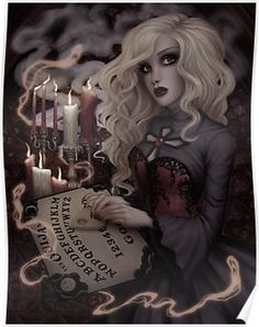 'Voices from the Other Side' Poster by Enamorte Dark Gothic Art, Gothic Artwork, Gothic Fantasy Art, Cool Artwork, Dark Art, Gothic 4, Fantasy Witch, Gothic Girls, Ouija