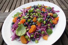 Denne smukke salat spiste vi som tilbehør til stegt kylling den anden  aften, men den vil nu også passe fint til fisk/ svinekød eller blot nydes  som en selvstændig frokostret.  Salaten er fyldt med gode sager og vil tilføre din krop en masse vitaminer,  kostfibre, proteiner, antioxidanter og omega 3 fedtsyrer.  Det er specielt vær at fremhæve de gode egenskaber der er ved at spise  edamame bønner og blåbær.  Edamame bønner er en rigtig god kilde til protein (indeholder ca. 38 %) og  fib...