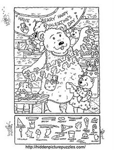 Hidden picture coloring page to color for V-day