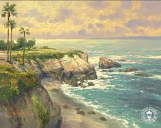 "Thomas Kinkade Signed and Numbered Limited Edition Plein Air Hand Embellished Canvas:""La Jolla Cove"""
