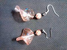 peach glass leaf earrings.