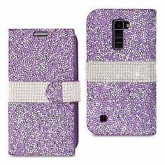 Reiko LG K10 Jewelry Rhinestone Wallet Case Purple