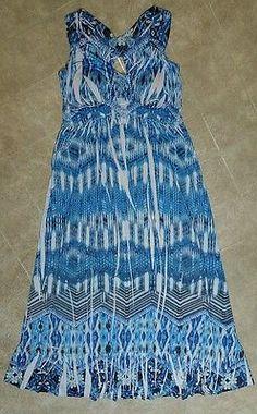 ** Style & Co sz S blue tie dye tribal full length maxi dress